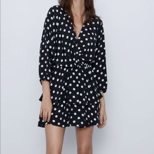V neck polka dot dress